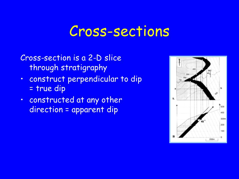 Cross-sections Cross-section is a 2-D slice through stratigraphy construct perpendicular to dip = true dip constructed at any other direction = apparent dip