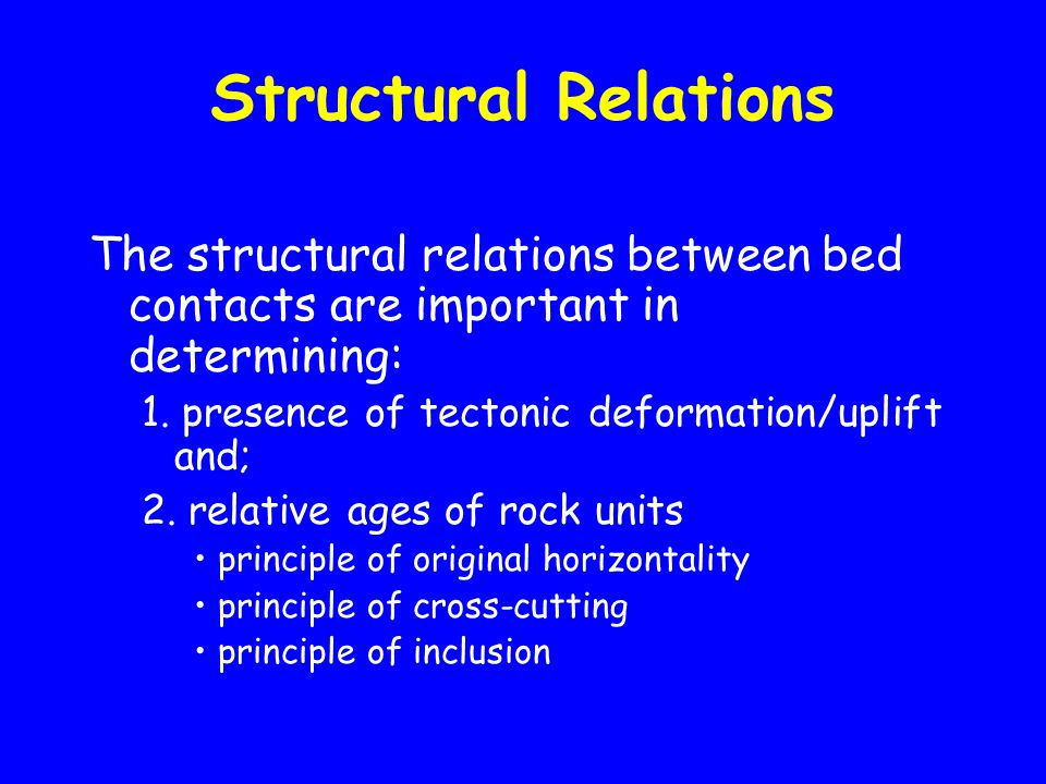Structural Relations The structural relations between bed contacts are important in determining: 1.