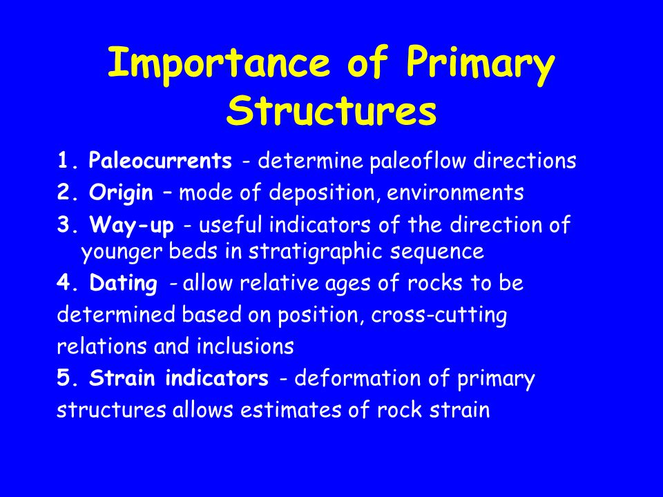 Importance of Primary Structures 1.Paleocurrents - determine paleoflow directions 2.