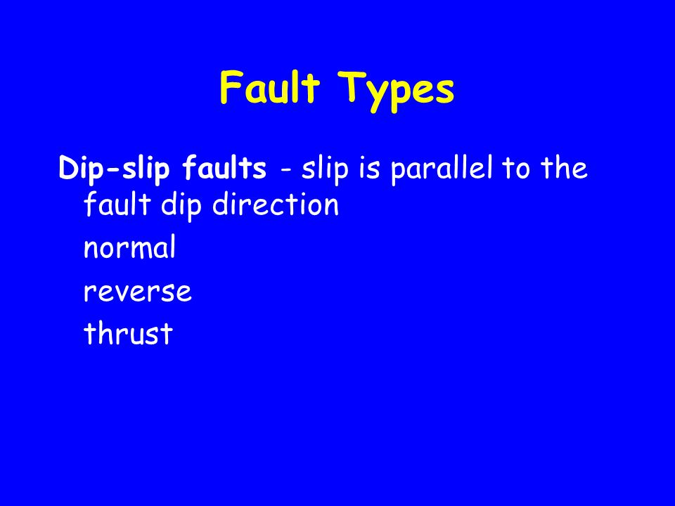 Fault Types Dip-slip faults - slip is parallel to the fault dip direction normal reverse thrust