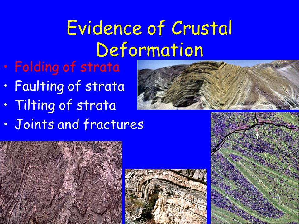 Evidence of Crustal Deformation Folding of strata Faulting of strata Tilting of strata Joints and fractures