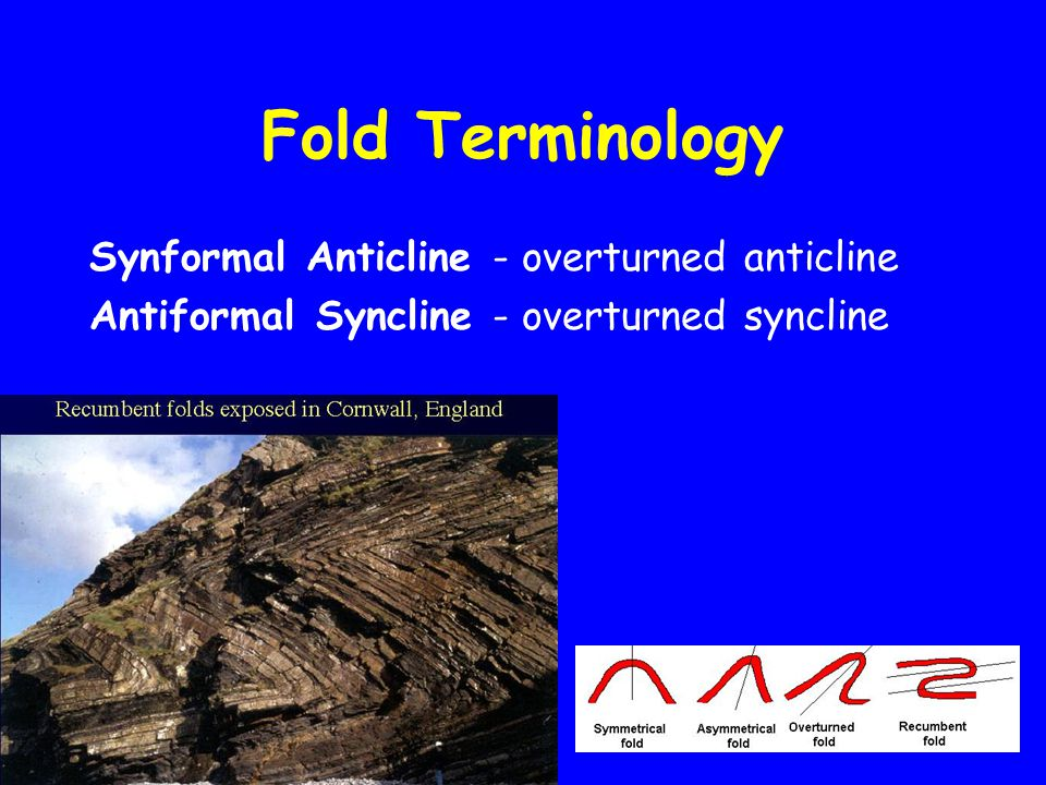 Fold Terminology Synformal Anticline - overturned anticline Antiformal Syncline - overturned syncline