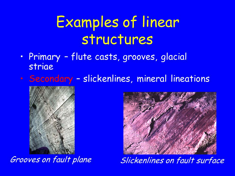 Examples of linear structures Primary – flute casts, grooves, glacial striae Secondary – slickenlines, mineral lineations Grooves on fault plane Slickenlines on fault surface