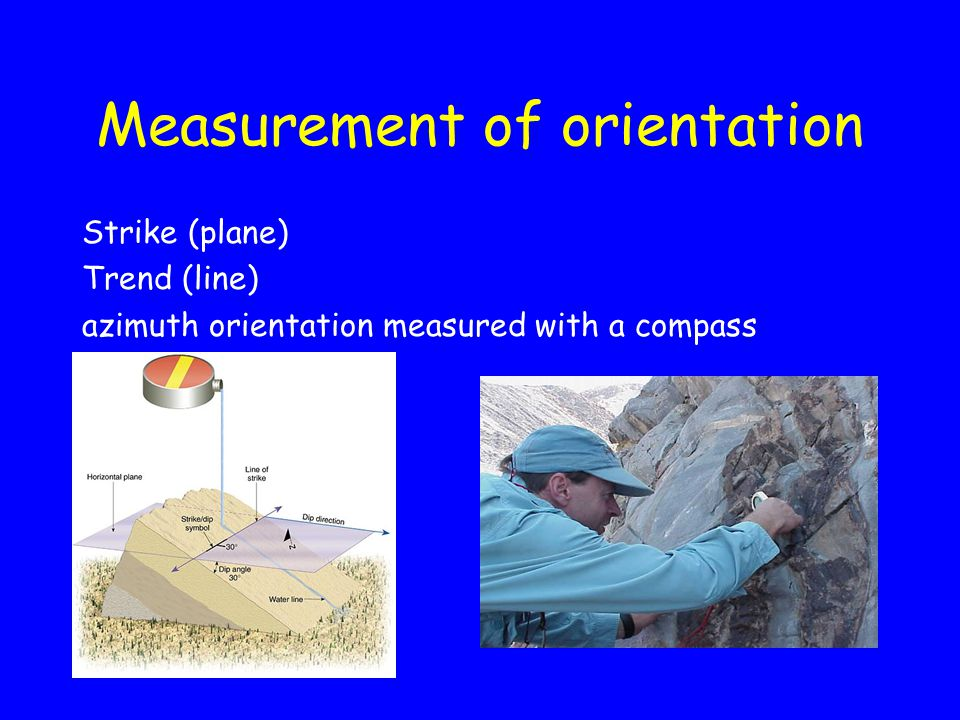 Measurement of orientation Strike (plane) Trend (line) azimuth orientation measured with a compass