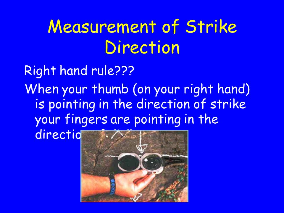 Measurement of Strike Direction Right hand rule .