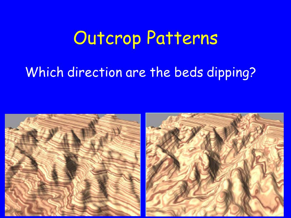 Outcrop Patterns Which direction are the beds dipping