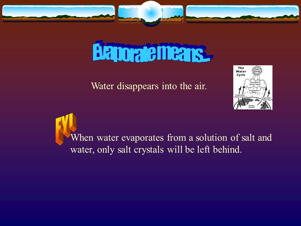 When water disappears into the air, it is called…….
