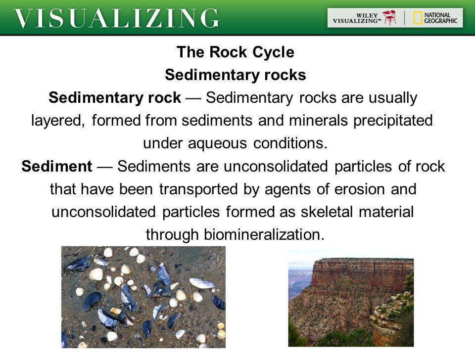 The Rock Cycle Sedimentary rocks Sedimentary rock — Sedimentary rocks are usually layered, formed from sediments and minerals precipitated under aqueous conditions.