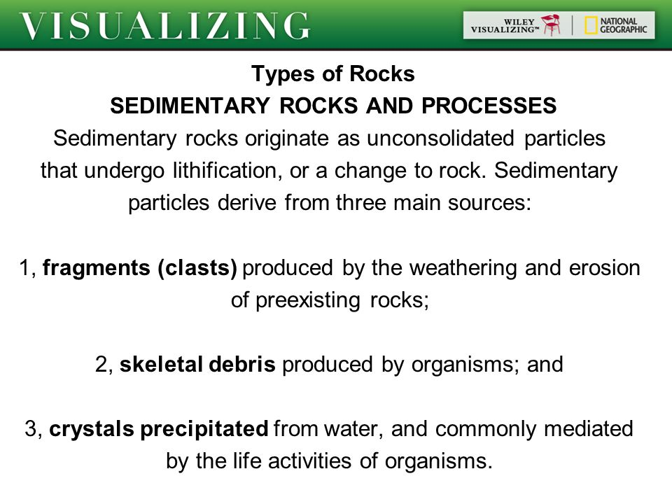 Types of Rocks SEDIMENTARY ROCKS AND PROCESSES Sedimentary rocks originate as unconsolidated particles that undergo lithification, or a change to rock.