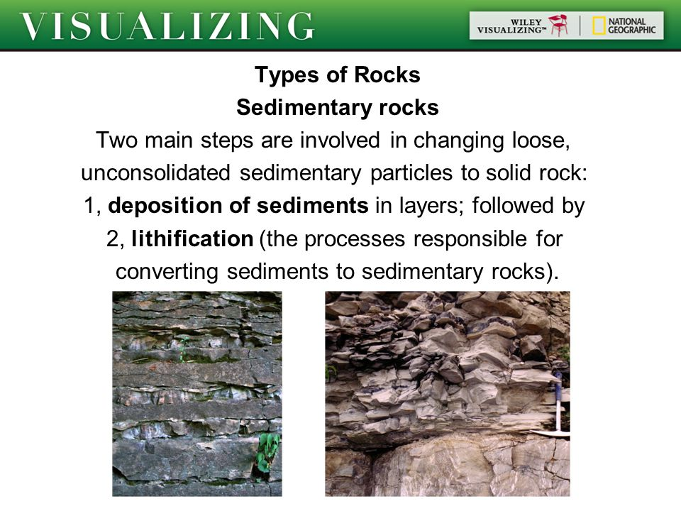 Types of Rocks Sedimentary rocks Two main steps are involved in changing loose, unconsolidated sedimentary particles to solid rock: 1, deposition of sediments in layers; followed by 2, lithification (the processes responsible for converting sediments to sedimentary rocks).