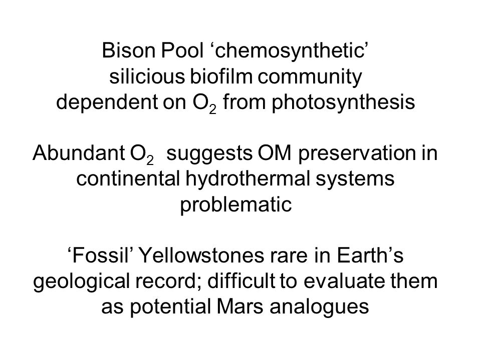 Bison Pool 'chemosynthetic' silicious biofilm community dependent on O 2 from photosynthesis Abundant O 2 suggests OM preservation in continental hydrothermal systems problematic 'Fossil' Yellowstones rare in Earth's geological record; difficult to evaluate them as potential Mars analogues