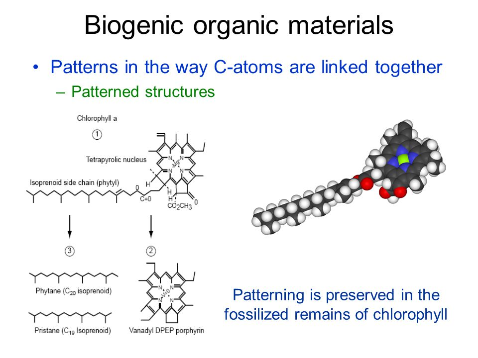 Patterns in the way C-atoms are linked together –Patterned structures Biogenic organic materials Patterning is preserved in the fossilized remains of chlorophyll
