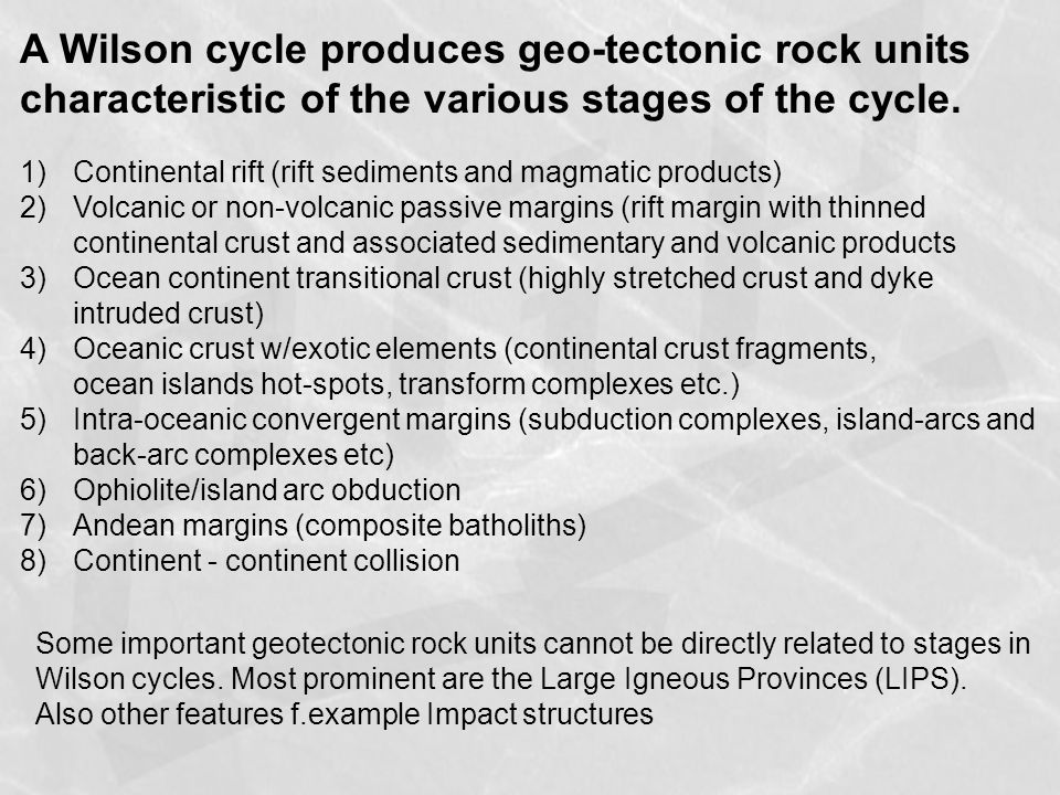 A Wilson cycle produces geo-tectonic rock units characteristic of the various stages of the cycle.