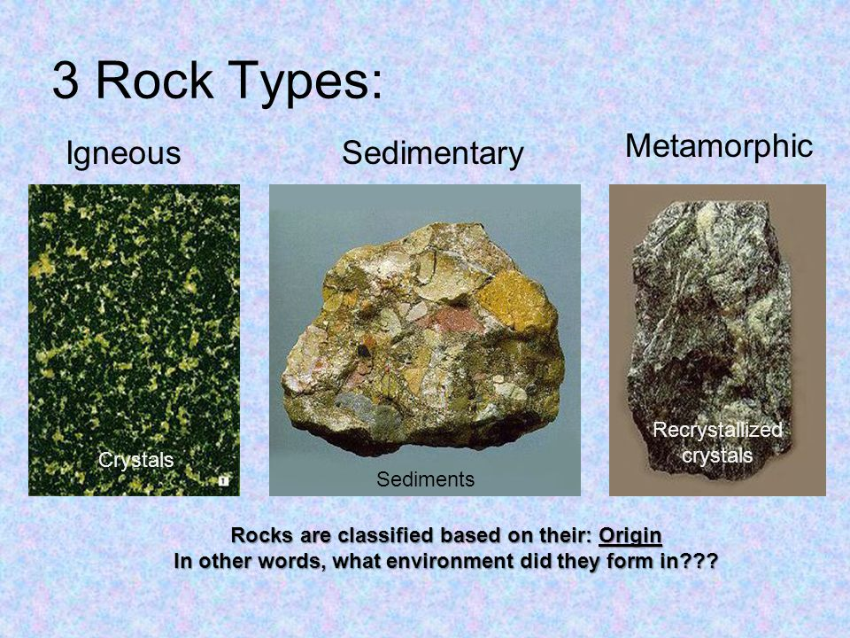 3 Rock Types: IgneousSedimentary Metamorphic Rocks are classified based on their: Origin In other words, what environment did they form in .