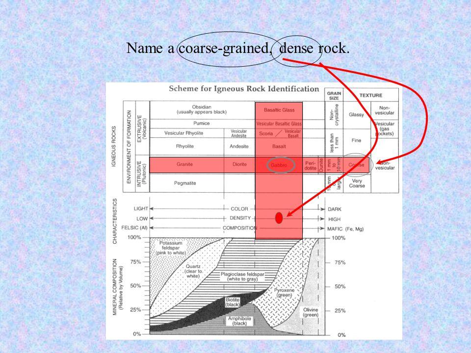 Name a coarse-grained, dense rock.