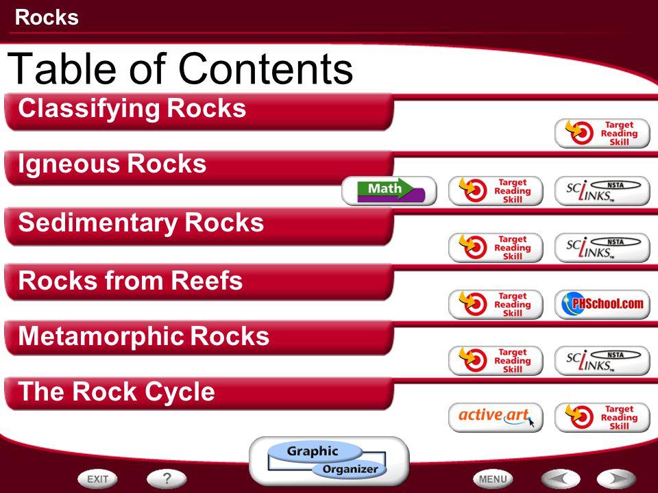 Rocks Classifying Rocks Igneous Rocks Sedimentary Rocks Rocks from Reefs Metamorphic Rocks The Rock Cycle Table of Contents