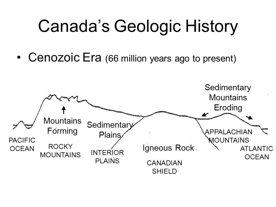 Canada's Geologic History Cenozoic Era (66 million years ago to present) Mountains Forming Igneous Rock Sedimentary Mountains Eroding Sedimentary Plai