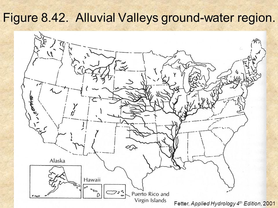 Figure 8.42. Alluvial Valleys ground-water region. Fetter, Applied Hydrology 4 th Edition, 2001