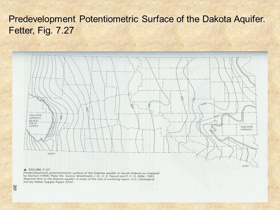 Predevelopment Potentiometric Surface of the Dakota Aquifer. Fetter, Fig. 7.27