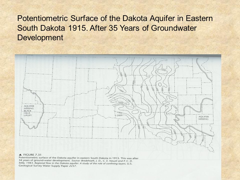 Potentiometric Surface of the Dakota Aquifer in Eastern South Dakota 1915. After 35 Years of Groundwater Development