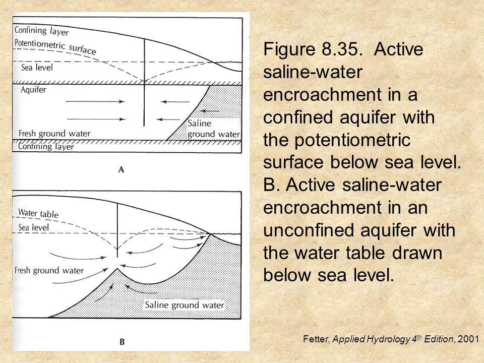 Figure 8.35. Active saline-water encroachment in a confined aquifer with the potentiometric surface below sea level. B. Active saline-water encroachme