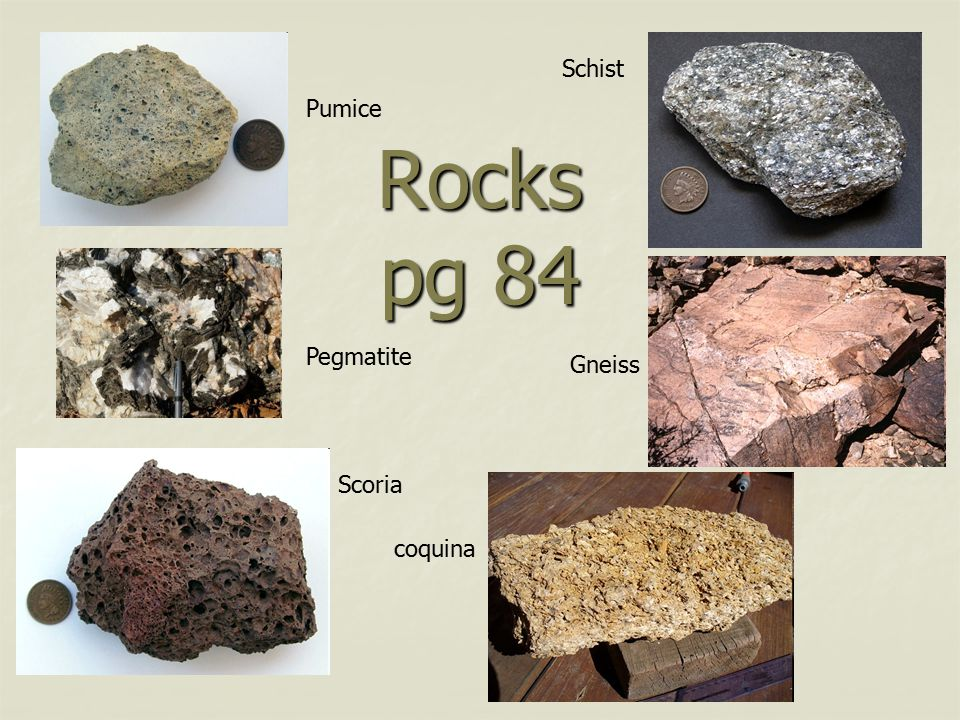 Rocks pg 84 Pumice Scoria Pegmatite coquina Schist Gneiss