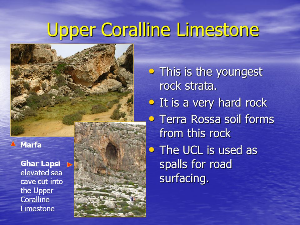 Upper Coralline Limestone This is the youngest rock strata. This is the youngest rock strata. It is a very hard rock It is a very hard rock Terra Ross