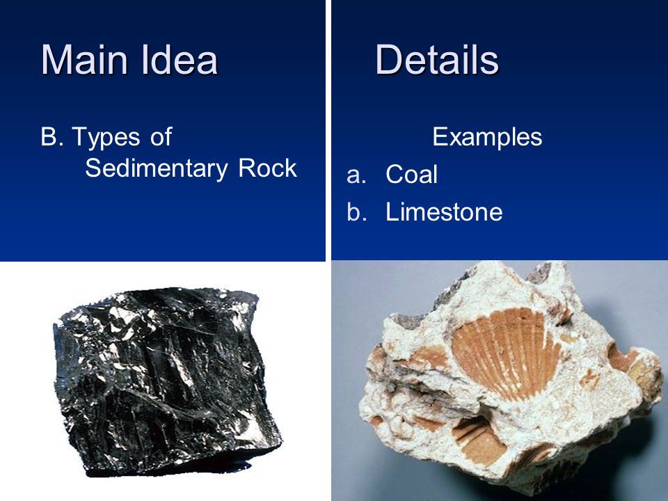 Main IdeaDetails B. Types of Sedimentary Rock Examples a. a.Coal b. b.Limestone