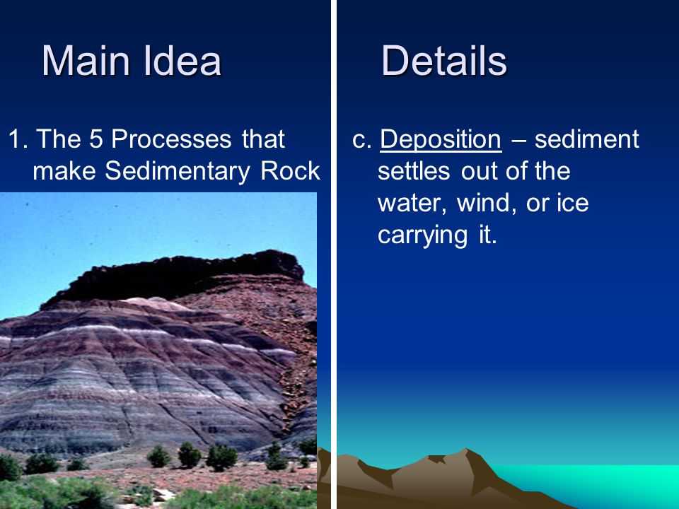 Main IdeaDetails 1. The 5 Processes that make Sedimentary Rock c.