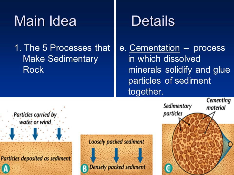 Main IdeaDetails 1. The 5 Processes that Make Sedimentary Rock e.