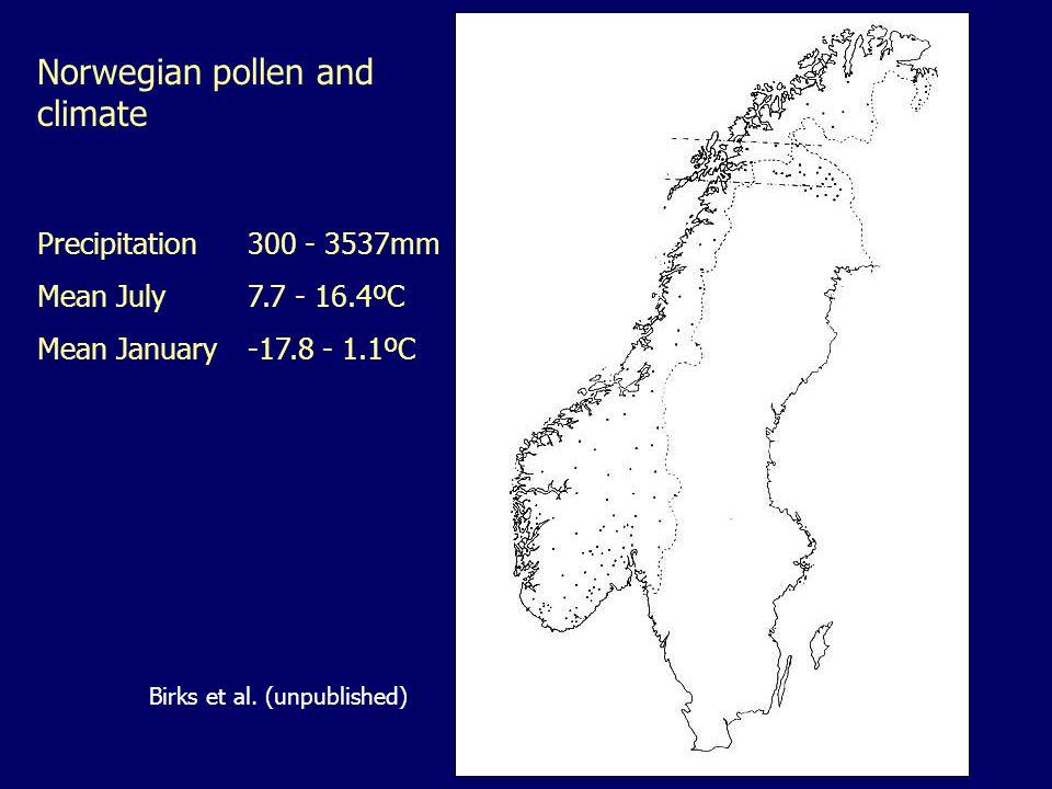 Precipitation300 - 3537mm Mean July7.7 - 16.4ºC Mean January-17.8 - 1.1ºC Norwegian pollen and climate Birks et al.