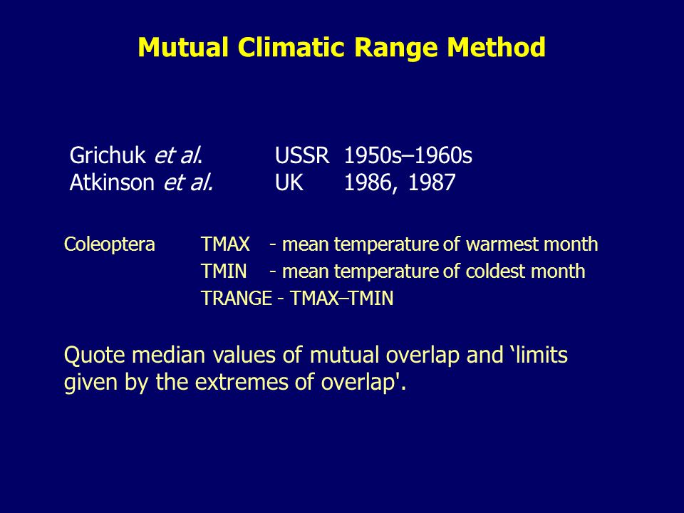 Grichuk et al.USSR1950s–1960s Atkinson et al.UK1986, 1987 Coleoptera TMAX - mean temperature of warmest month TMIN - mean temperature of coldest month TRANGE - TMAX–TMIN Quote median values of mutual overlap and 'limits given by the extremes of overlap .
