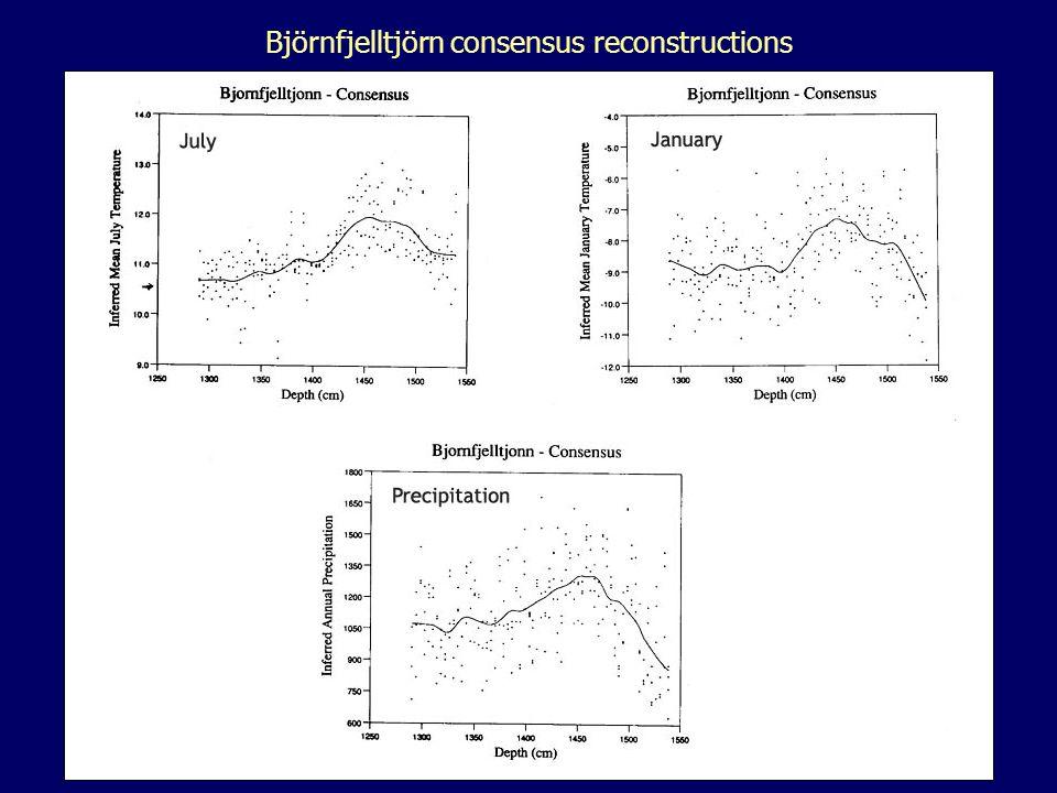 Björnfjelltjörn consensus reconstructions