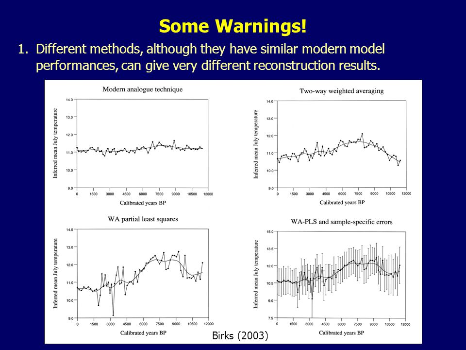 1.Different methods, although they have similar modern model performances, can give very different reconstruction results. Birks (2003) Some Warnings!