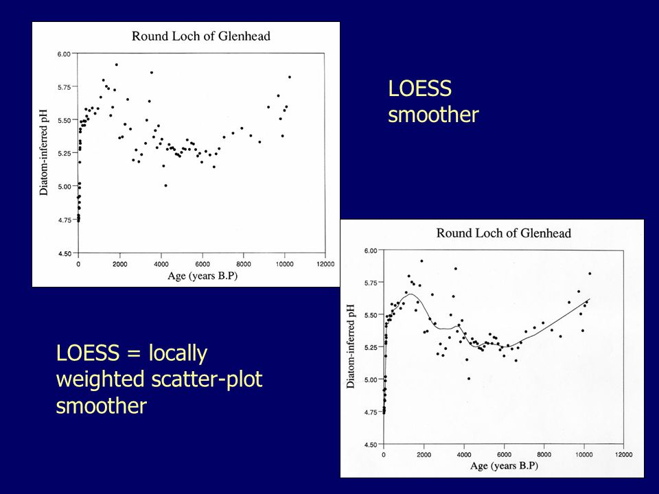 LOESS smoother LOESS = locally weighted scatter-plot smoother