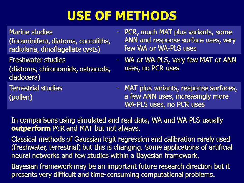 USE OF METHODS Marine studies (foraminifera, diatoms, coccoliths, radiolaria, dinoflagellate cysts) -PCR, much MAT plus variants, some ANN and respons