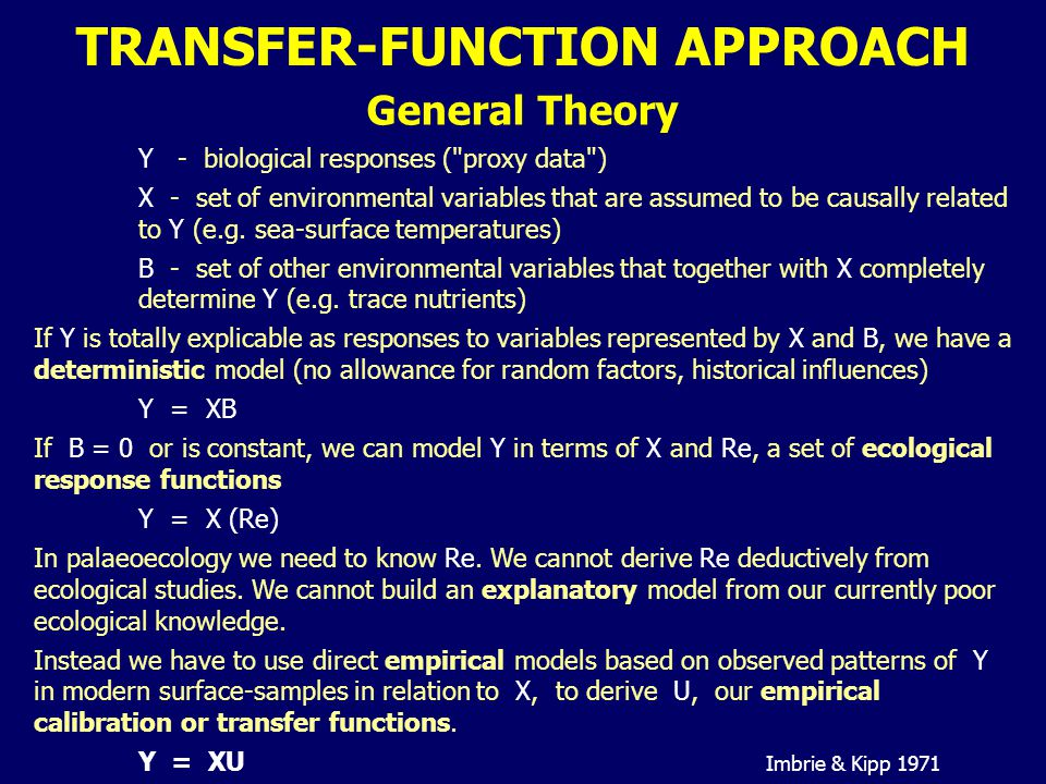 TRANSFER-FUNCTION APPROACH General Theory Y - biological responses (