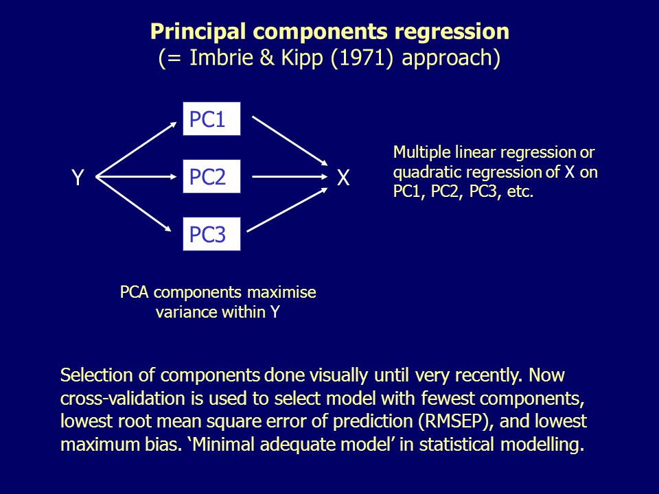 Multiple linear regression or quadratic regression of X on PC1, PC2, PC3, etc.