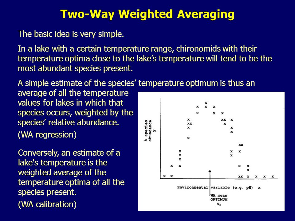 The basic idea is very simple. In a lake with a certain temperature range, chironomids with their temperature optima close to the lake's temperature w