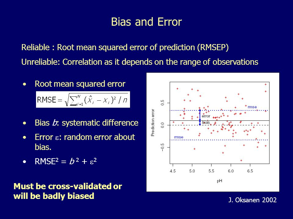 Reliable : Root mean squared error of prediction (RMSEP) Unreliable: Correlation as it depends on the range of observations Root mean squared error Bi