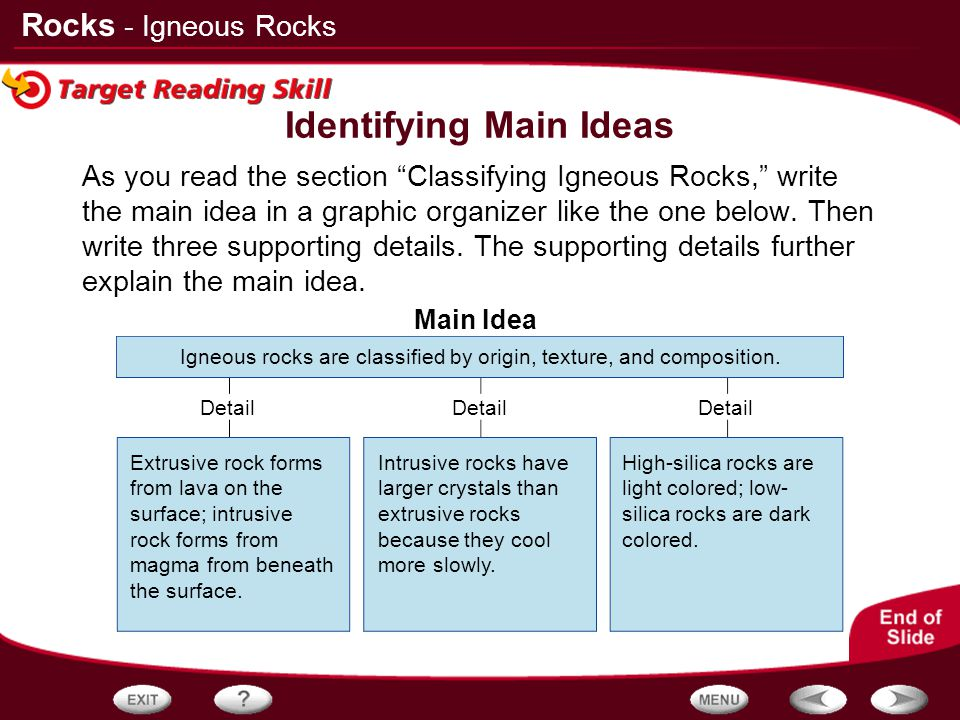 """Rocks Detail Main Idea As you read the section """"Classifying Igneous Rocks,"""" write the main idea in a graphic organizer like the one below. Then write"""