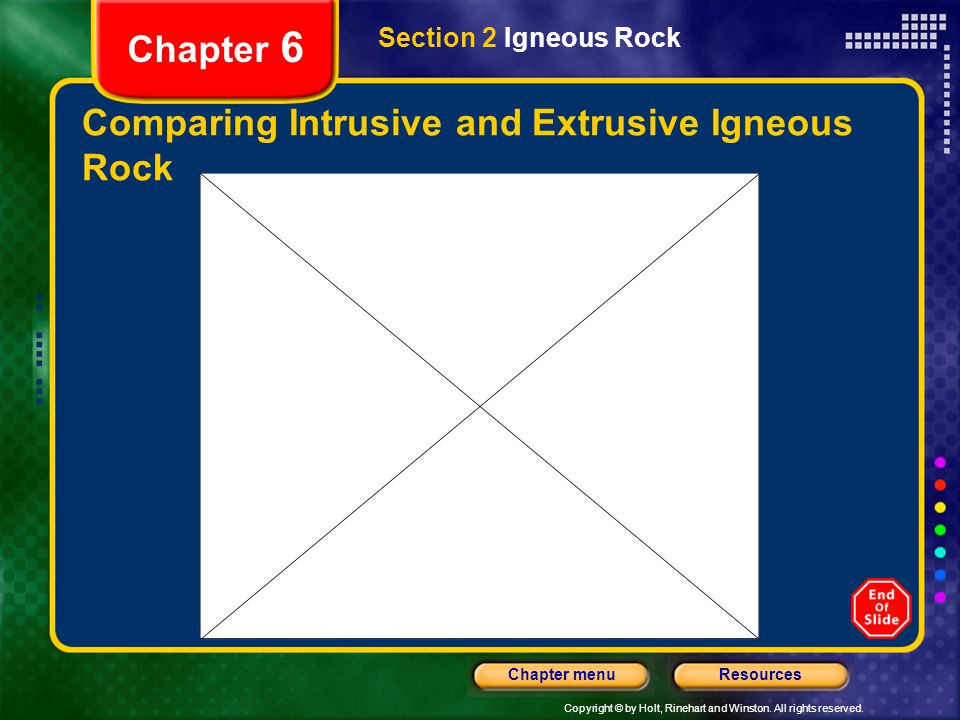 Copyright © by Holt, Rinehart and Winston. All rights reserved. ResourcesChapter menu Chapter 6 Comparing Intrusive and Extrusive Igneous Rock Section