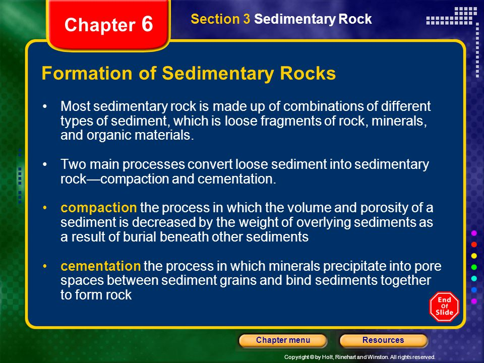 Copyright © by Holt, Rinehart and Winston. All rights reserved. ResourcesChapter menu Section 3 Sedimentary Rock Chapter 6 Formation of Sedimentary Ro