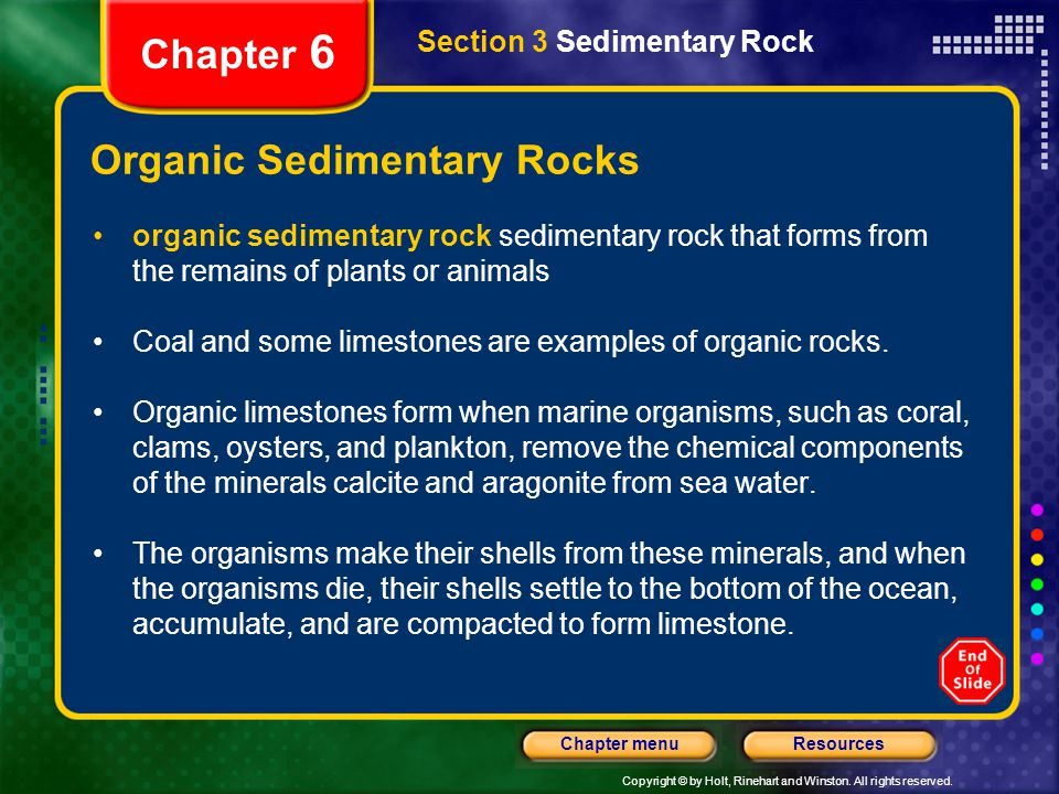 Copyright © by Holt, Rinehart and Winston. All rights reserved. ResourcesChapter menu Section 3 Sedimentary Rock Chapter 6 Organic Sedimentary Rocks o