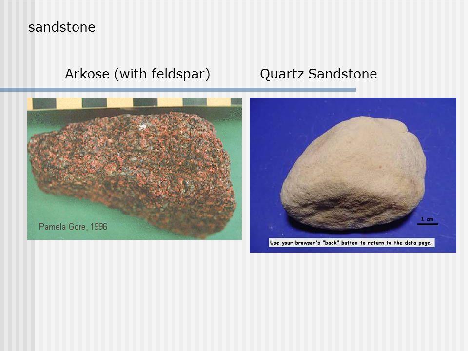 sandstone Arkose (with feldspar) Quartz Sandstone
