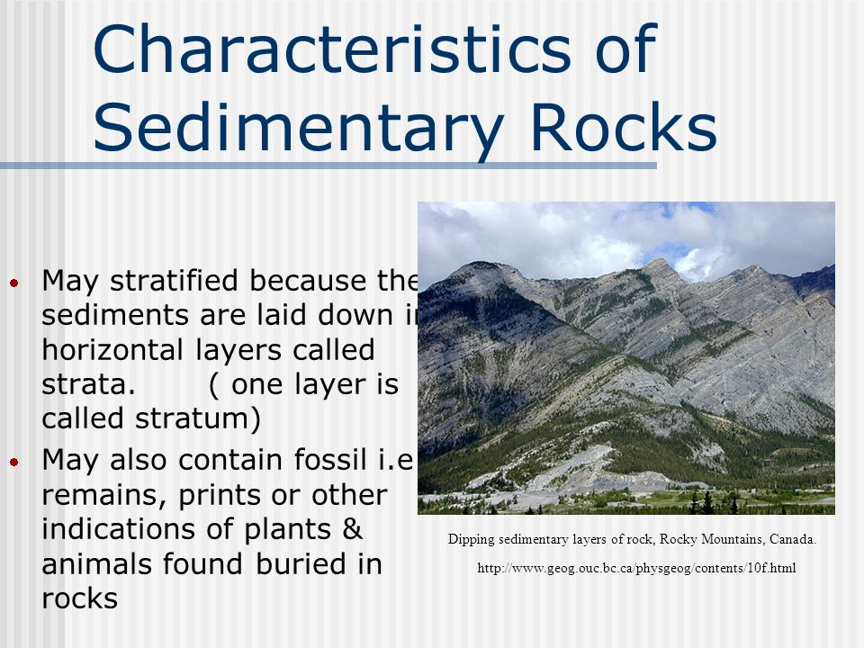 Characteristics of Sedimentary Rocks  May stratified because the sediments are laid down in horizontal layers called strata.