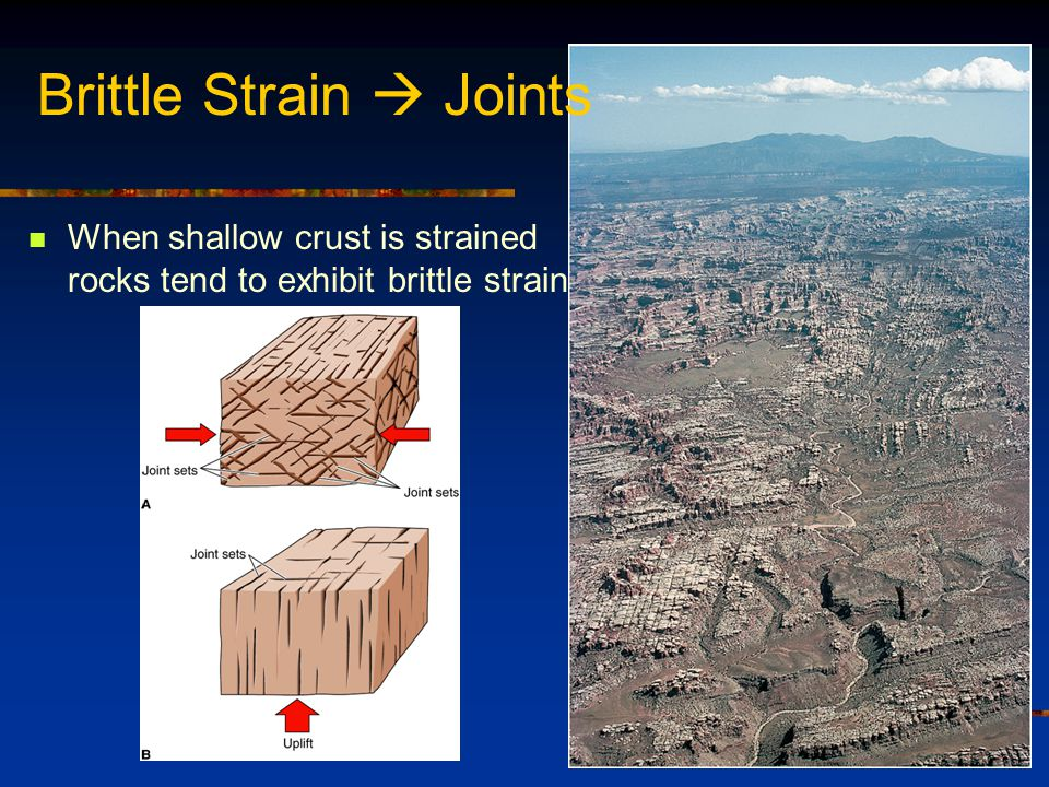 When shallow crust is strained rocks tend to exhibit brittle strain Brittle Strain  Joints