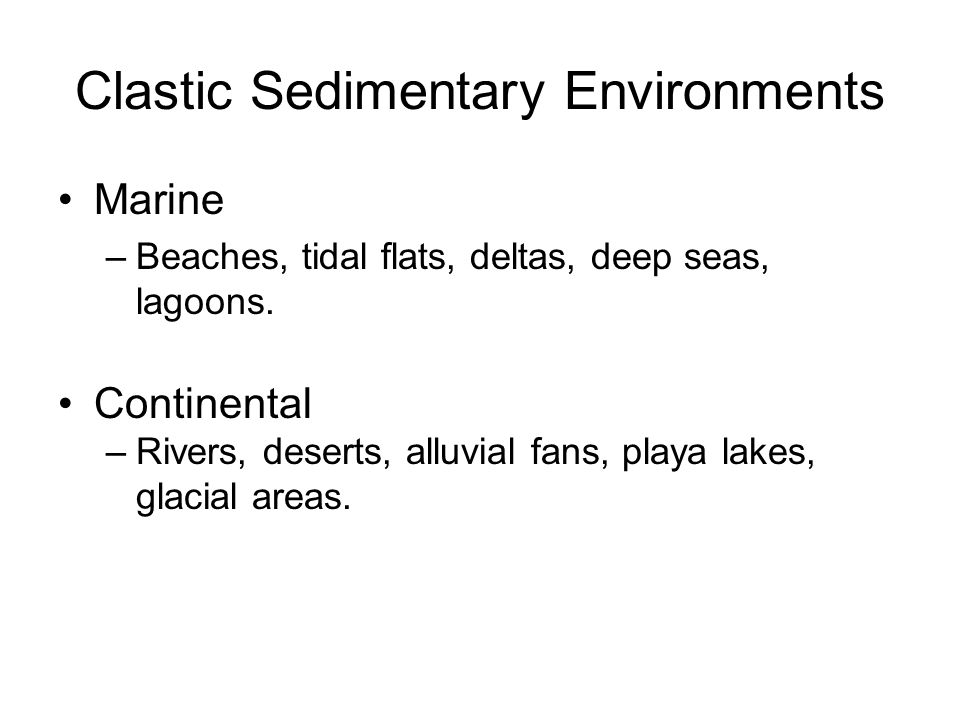Clastic Sedimentary Environments Marine –Beaches, tidal flats, deltas, deep seas, lagoons.