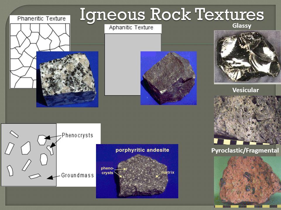 Igneous Rock Textures Glassy Vesicular Pyroclastic/Fragmental