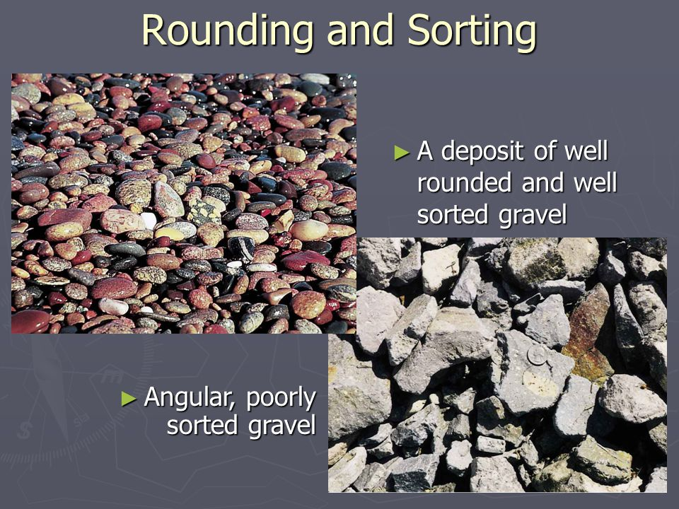 ► A deposit of well rounded and well sorted gravel Rounding and Sorting ► Angular, poorly sorted gravel